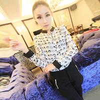 hot sale E 2013 ! gentlewomen elegant patchwork lace sleeve one button pocket suit jacket c55