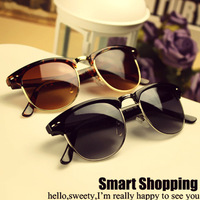 Free shipping Fashion fashion sunglasses vintage sunglasses big black metal sunglasses in the box