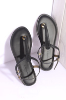 free shipping Banana republic flip-flop sandals female genuine leather flat comfortable shoes women's