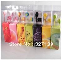 Free Shipping! Smile Face Headphone Smiling Colorful Stereo Headset,  Fruit Earphone 10pcs/lot Retail Box!
