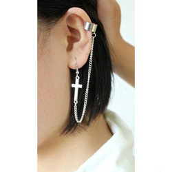 1Pc New Arrival Fashion Cross Chain Ear Cuff Wrap Earring Wholesale Free shipping E162(China (Mainland))
