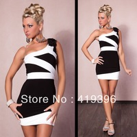 New Design CL17746 Free Shipping One Shoulder Oblique Mini Dresses Black and White Stripe Dress