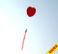 Free Shipping Weifang softbody kite love heart kite 150*170cm with 300cm tail pearl silk made