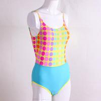 Teams female dot one piece swimwear child spaghetti strap type triangle swimming equipment parent-child