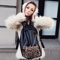 Backpack backpack female preppy style leopard print rivet vintage student school bag laptop bag women's handbag