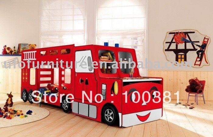 Kinderbett F2029 Feuerwehrauto Bett Set In Kombination