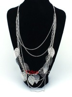 New Arrival 10pcs Silver Leaves Multilayer Long Chain Necklace Jewellry Fashion Woman Gift 260940