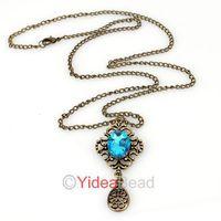Fashion Retro Vintage 10pcs Hollow Carved Blue Gem Drop Pendants Long Chain Necklace 261490