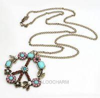 9pcs Vintage Retro Bronze Colorful Peace Sign Flower Pendant Chain Necklace 60156
