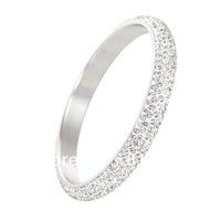 2pcs HIGH-QUALITY European Fashion 100% CZ Crystal Rhinestone charms stainless steel bangle bracelet jewelry Free shipping BN026