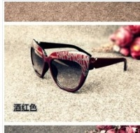 Retro Style Oblong Shaped Sunglasses Wine Red  Coffee free shipping 	YW13032616-1