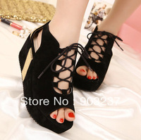 Free Shipping - New Oxford fish head shoes thick crust cross strap platform shoes