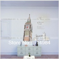 Free shipping parlour bedroom decoration Sofa TV background can remove Wall sticker Bell Tower