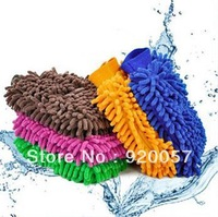 Large double-sided chenille cleaning gloves clean the car gloves