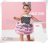 3sets/lot,(80-100) Free shipping,Lovely pink black white dot children dress, baby birthday dress, wholesale and retail dress