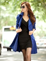 New Fashion Women Slim Double-breasted Trench Coat,Casual Long Outwear S,M,L,XL,XXL,XXXL Sizes Free Shipping