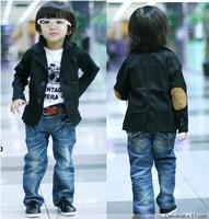 Self-restraint children's clothing 2013 black applique formal dress blazer child male child suit jacket