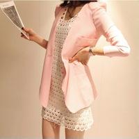 Small suit jacket female medium-long powder long-sleeve blazer formal shoulder pads,FREE SHIPPING