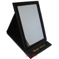 Free shipping Black leather PU Large desktop makeup mirror folding makeup mirror portable makeup mirror