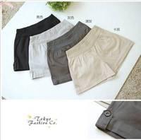 Stylish Pure Color Turn-up Button Short Pants Light Grey QM12091413-1