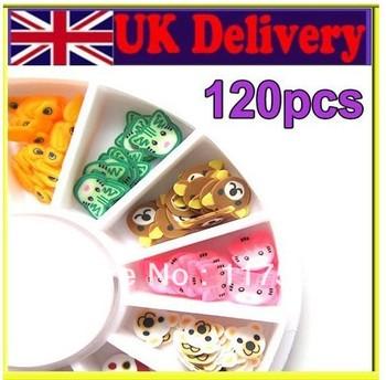 Free Shipping 120x 3D Mix Flower Fimo Slice Nail Art Tips Stickers UV Acrylic Decoration Wheel Animal SeriesXTH2003