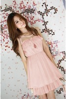 Free mailing cost logistics tracking service Voile Lace Chiffon Dress cute woman Perspective (blue, beige, orange, pink)