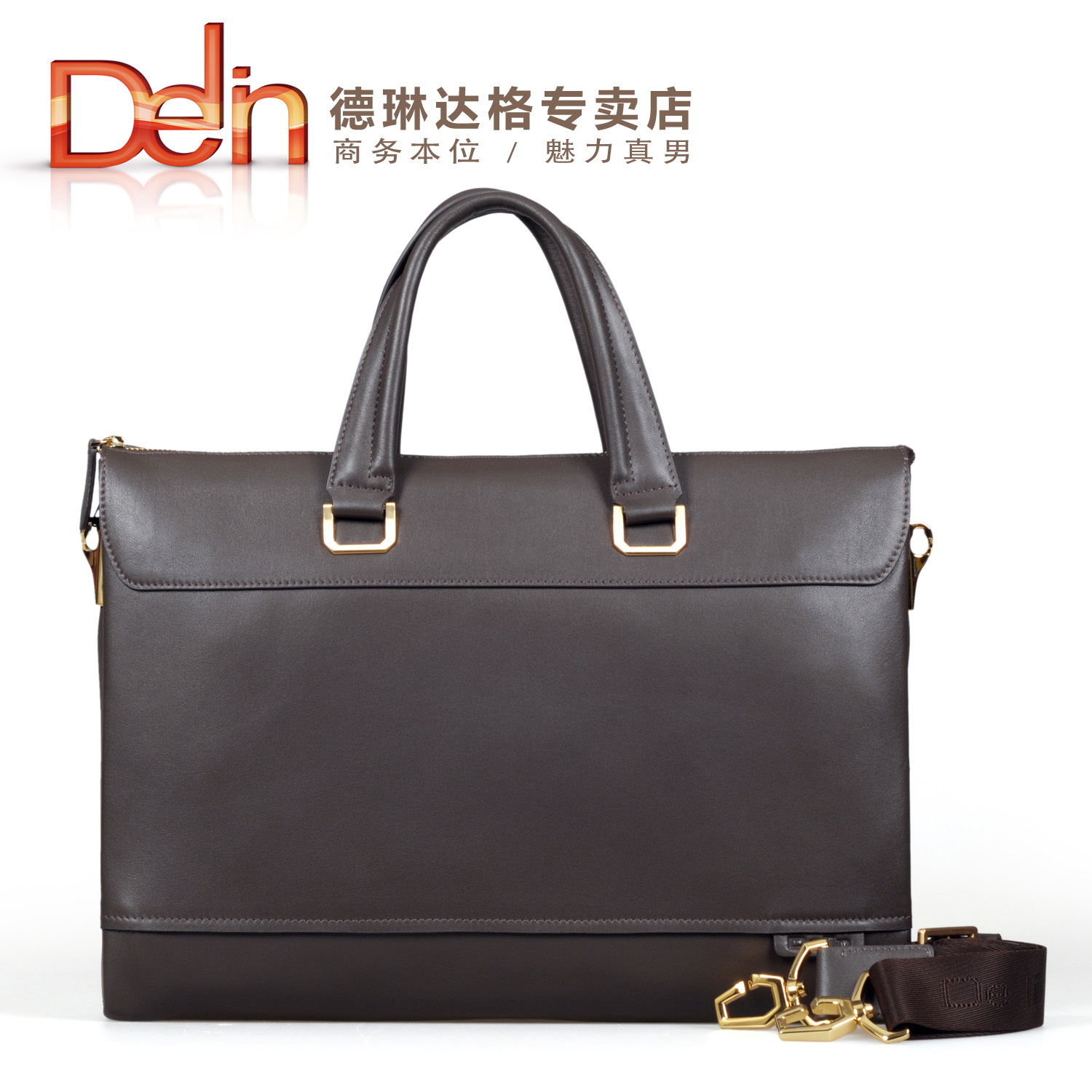 Delin fashion genuine leather briefcase business casual handbag the first layer of leather man bag laptop bag(China (Mainland))