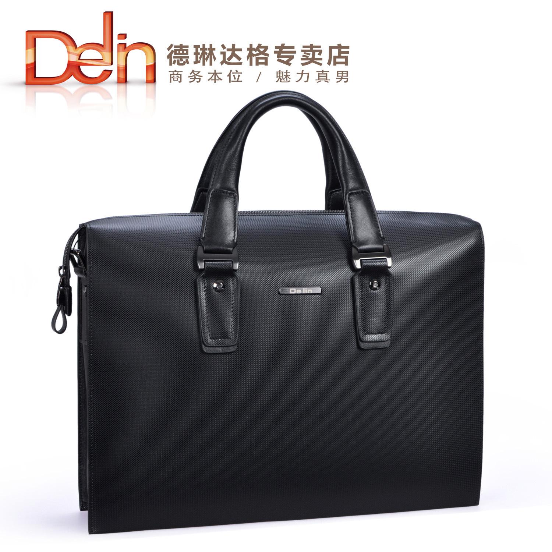 Delin black male quality commercial messenger bag handbag briefcase diamond pattern man bag(China (Mainland))