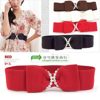 On Sale Fashion genuine diamonds bow elastic waist belt for women FREE SHIPPING