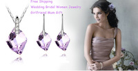 Purple Crystal Made With Swarovksi Elements Wish Stone Necklace & Earrings Bridal Women's Set Lover Mother Gift Fashion Jewelry