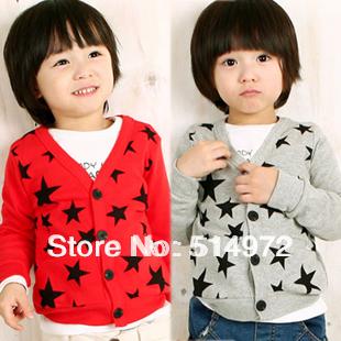 New 2014 Stars Printed V-neck Baby Cardigan Jacket Cotton Children's Clothing Child Sweater Coat Free Shipping(China (Mainland))