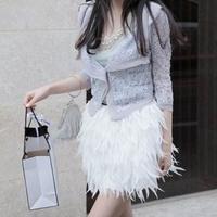 Fashion Pure White Chiffon Feather Bud Skirt Women Spring Puff Skirt Summer Chiffon Short Skirt For Ladies
