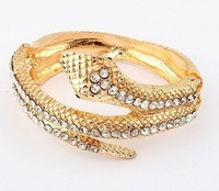 Min. order $15(Mixed order)Hot Sale Snake Bangle Bracelet 18K Gold Plated High Quality Cuff Bangle Rhinestone Free Shipping
