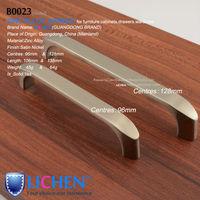 LICHEN(6pieces/lot)96/128mm Centres Furniture Hardware Zinc alloy Satin nickel Handle&Cabinet Handle&Drawer Handle