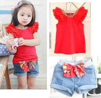 SY-250,5 pcs/lot 2013 summer child clothes set fashion girl suit red vest+denim shorts 2 pcs suit kid garment free shipping