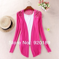 Fashion long sleeve Lace hollow out cardigan bottoming shirt lady's sweater knitwear 10 Color