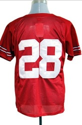Free shipping fee Epacket, Ohio State Buckeyes Dominic Clarke #28 red College Football Jersey, Stripped logos sewn, mix order(China (Mainland))