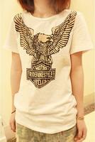 2013 fashion women's t-shirts  women new Korean Eagle personality behind the tear strip hollow Slim t shirt  free shipping