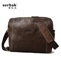 Serbak man bag messenger bag horizontal genuine leather first layer of cowhide casual all-match man bag 2014 freeshipping