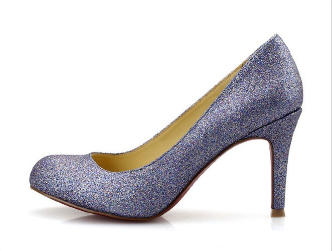 2013 New Spring brand designer purple glitter women's high heels shoes pumps LF14(China (Mainland))