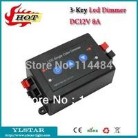 Free Shipping DC12V/24V 3 keys Led Dimmer for led strip, 8A, LED Single color Controller Dimmer, 1 channle key Press LED Dimmer