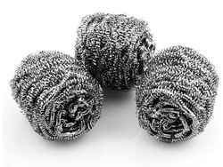 5pcs Stainless Steel Pot Scourer Scouring Bowl Cleaner Clean ball steel wool , free ship, wholesale(China (Mainland))