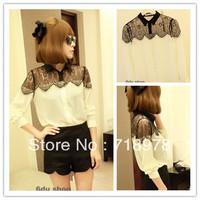 Free Shipping autumn lady small long sleeve chiffon blouse,women black lace shirt