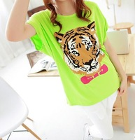 Promotion + free shipping Sexy off-the-shoulder tiger loose big yards round collar bat sleeve T-shirt with short sleeves