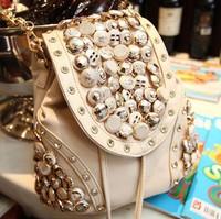Button backpack punk vintage bucket bag one shoulder handbag cross-body rhinestone tassel female