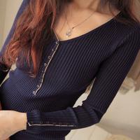2013 spring women's medium-long V-neck elastic long-sleeve slim basic t shirt female