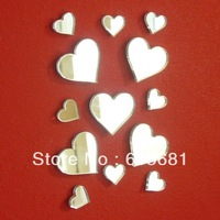 Freeshipping Waterproof acrylic mirror wall sticker / Bundles of Hearts Mirrors