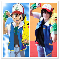 Anime Pokemon Ash Ketchum Trainer Costume Cosplay Jacket  Hoodies leisure coat