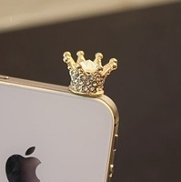 Free Shipping Min Mix Order $10, 2013 new fashion cute Crystal Pendant rhinestone crown earphones dust plug for mobile phone