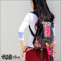 2013 New Arrival Genuine Leather Embroidery School Backpack Double-shoulder Travel Bag Ethnic Hmong Handbag/Bag